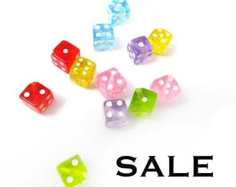 Transparent Plastic Dice Beads (12X) (B564) SALE - 15% off
