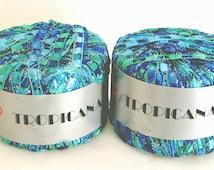 2 Balls SKACEL TROPICANA Ladder Ribbon Yarn #1169 Italy Variegated Blue - Green 25g/55yds Nylon/Polyester