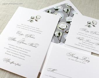 Cotton Wedding Invitations, Cotton Boll Wedding Invitations, Southern Wedding Invitations, Southern Cotton Invites, Cotton Blossom Invites