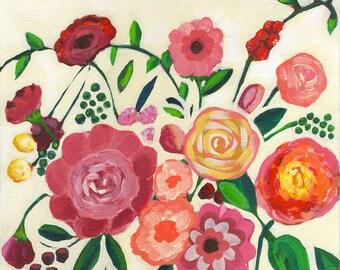 Floral Art, Flower Art, Pink Flowers, Bouquet, Folk Art, Floral Painting, Floral Print, Floral