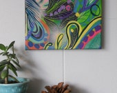 germinate. original mixed media art canvas. one of a kind. colorful wall decor. ready to hang.