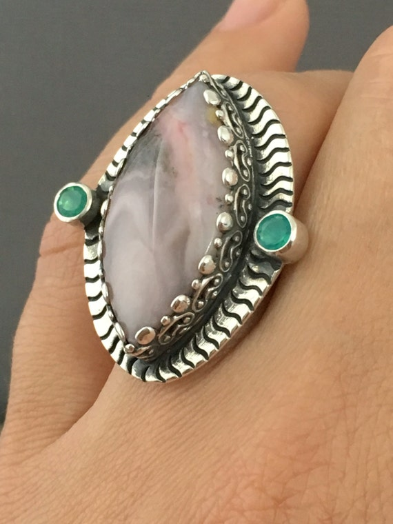 Peruvian Opal Ring Size 8 Ring Large Stone Ring Pink By Prox