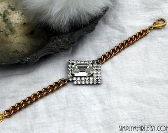 Vintage Rhinestone and Brass One of a Kind Bracelet...Smashing One