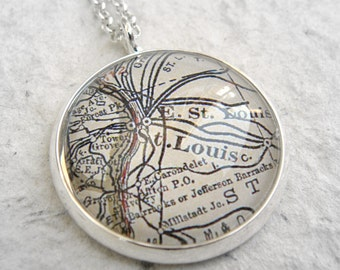 St Louis Map Necklace - YOU choose your map from 25 choices - St. Louis Missouri Map Jewelry - Custom Map Jewelry