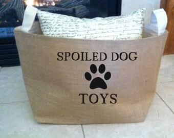 spoiled dog  lined burlap dog toy basket , burlap storage tote