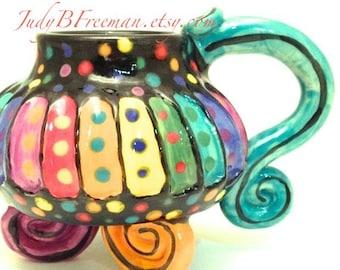 Ceramic Stoneware Mug Rainbow Striped Whimsical 12 Ounces Made to Order MG0035