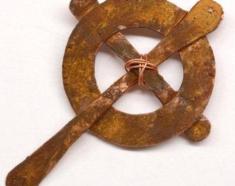 Celtic Cross - Handmade Rustic Copper Pendant Component PN166