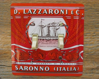 Mediterranean Decor Tuscany Italian Kitchen Light Switch Cover Double Switchplate Plate Lighting Made From An Old Biscotti Tin SP-0352