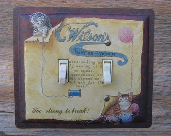 Double Switch Plate Cover Knitting Yarn Theme Made From An Old Wilsons Tin Sewing Room Decor Lighting With Cat Kitten Kittens SP-0302
