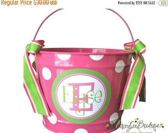 ON SALE Stacked name bucket with pink and green preppy accents - 10 quart bucket - playroom decor - room storage -