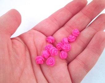12 hot pink 7.5mm rose cabochons, small round resin flower cabs