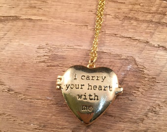 i carry your heart with me Locket Necklace Goldtone