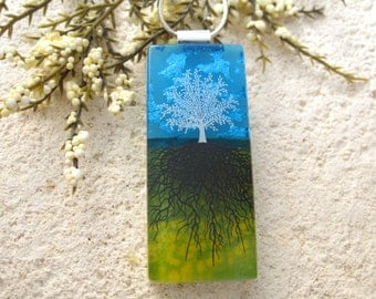 Long Tree Necklace, Fused Glass Jewelry, Rooted Tree, Tree of Life Jewelry, Glass Pendant, Necklace Included, Green Blue Necklace 122115p100