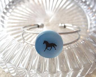 Snap & Change Bracelet, Horse Bangle Bracelet, Silver Bracelet, Dichroic Bracelet, Nickel Free Alloy, Fused Glass Jewelry,  020316br100