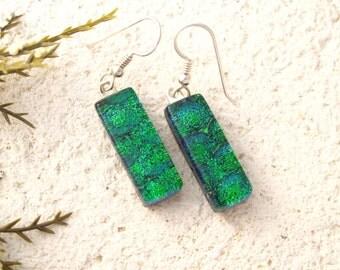 Slim Emerald Earrings,  Dangle Earrings, Dichroic Earrings, Green Earrings, Fused Glass Jewelry, Dichroic Jewelry. Dangle Drop,022316e100