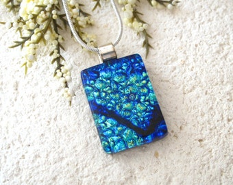 Aqua Cobalt Blue Necklace, Dichroic Jewelry, Glass Jewelry, Fused Glass Jewelry, Fused Glass Pendant, Dichroic Glass Necklace,  060316p115