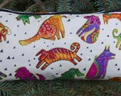 Dogs flat bottom bag, flat bottom pouch, knitting notions pouch, Laurel Burch Dogs on cream, The  Zini