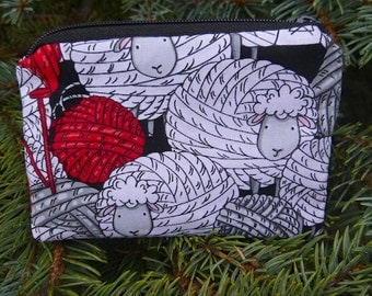 Knitting coin purse, gift card pouch, stitch marker pouch,Skeins of Sheep, The Raven