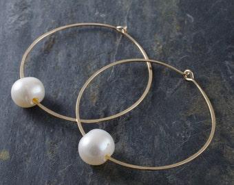 Large Gold Hoop with Pearl. Hoop Earrings. Pearl Earrings. June Birthstone. Birthstone Jewelry.