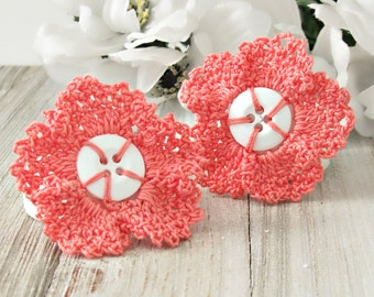 Button Flower Lace Hair Clips, Cottage Chic Coral Flower Hair Barrettes, Girls, Women's Hair Clips