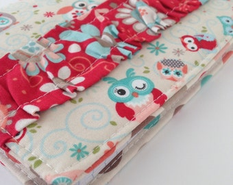Journal Cover - purse size - owls with red floral ruffle