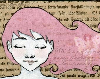 Alison - Original ACEO illustration - Miniature art card - Mixed media original girl with pink hair