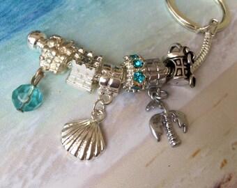 Beach inspired key chain~ European charms~ European key chain~ beach charms~ Palm tree charm~sea shell ~ shovel and pail~ beach bucket~gift