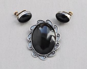 Vintage Sterling Silver Obsidian Jewelry Set - Mexican pin brooch and earrings with black stone oval cabochons - Taxco Mexico 925