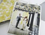 40 yards grey & yellow pennant flags .. handmade vintage wedding