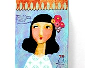 ORIGINAL acrylic painting Happy New Year Girl pale blue fresh art for 2016 mixed media collage portrait painting ACEO mini art by Tascha