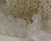 8mm Sea Glass Beads Smooth Round Frosted Matte Crystal (Qty 10) PH-SG8-CRYS