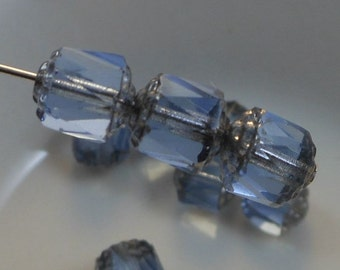 Czech Glass Cathedral Beads 8mm Fire Polish Blue with Silver (Qty 10) SRB-8FPC-B-S