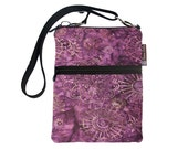 Crossbody Travel Purse also fits many tablets Kindle Fire /Nook Bag / iPad mini / FAST SHIPPING / - Wine Batik Fabric