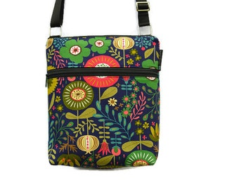 Tablet Pocket Crossbody Purse - iPad Pocket tablet bag - Cross Body Bag - Cross body Purse - Shoulder Purse BORSETTA Botany Fabric