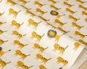 Japanese Fabric Kokka Trefle Lion Cats double gauze - yellow - 50cm
