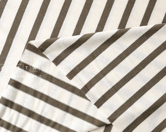 Japanese Fabric Jersey Knit Stripes - khaki - 50cm