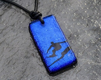 Surfer Necklaces surf jewelry fused glass pendant with black leather cord by zulasurfing