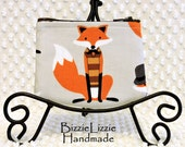 Fox Coin Purse Fox Pouch Earbud Pouch Fox ID Pouch Mini Wallet ID Holder Small Zipper Pouch Orange and Gray Coin Pouch Teacher Gift Under 10