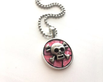 Pretty in Pink Skull Pendant