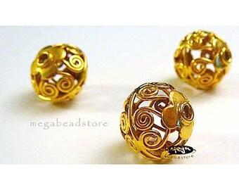 13mm Cage Filigree Beads VERMEIL Gold Bali Beads B206V- 2 pcs