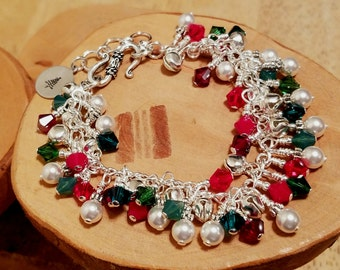 Luxe Swarovski crystal pearl and silver bells adjustable Christmas bracelet so much red and green for the holidays