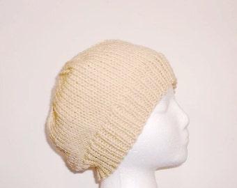 Beige knitted beanie, warm hat  beanie beret    large brim  5063