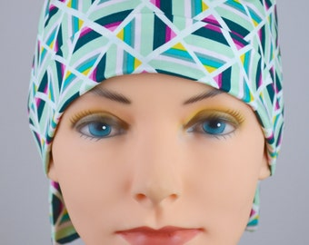 Surgical Scrub Hat or Chemo Cap- The Mini with Fabric Ties- Geometric