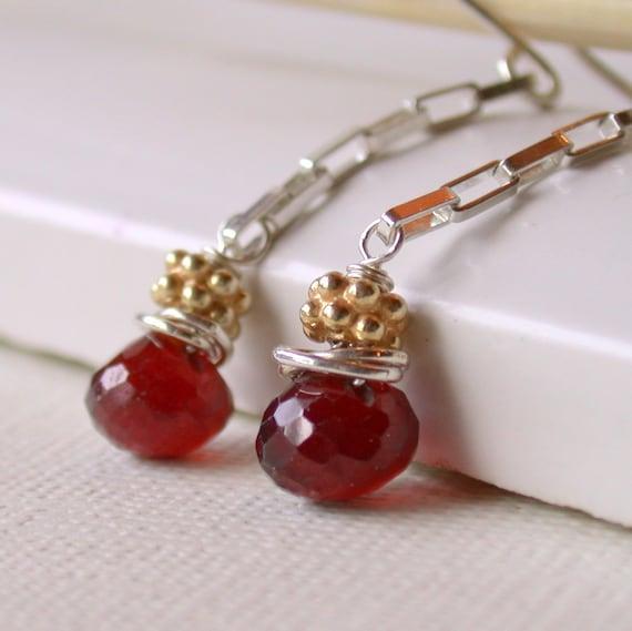 Hessonite Garnet Earrings. Garnet Drop Earrings. January Birthstone Earrings. Simple Garnet Earrings.Dangle. Artisan. Jewelry.
