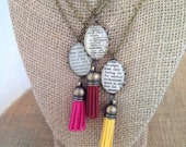 Tassel Necklace,  personalized word necklace, gift for women, leather tassel,boho style necklace, custom word jewelry