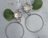 Strawberry Blossom Hoops, Silver and Gold Flower Hoop Earrings