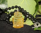 Amber Owl and Real Jet Witches Necklace  - Pagan, Wicca, Ritual, Magic