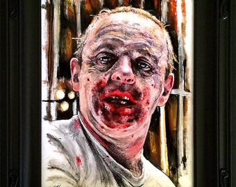 Hannibal Lecter - Original Drawing - Silence of the Lambs Dark Art Horror Anthony Hopkins Cannibal Serial Killers Pop Art Lowbrow Blood 90s