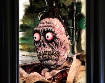 Harry the Hunter - Original Drawing - Beetlejuice Shrunken Head Guy Horror Comedy Tim Burton Gothic Halloween Dark Art Creepy Portrait Pop