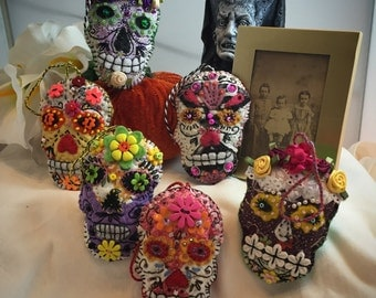 Embroidered Sugar Skulls - Day of the Dead Quilty Critter Sachet Ornament - OOAK, Novelty